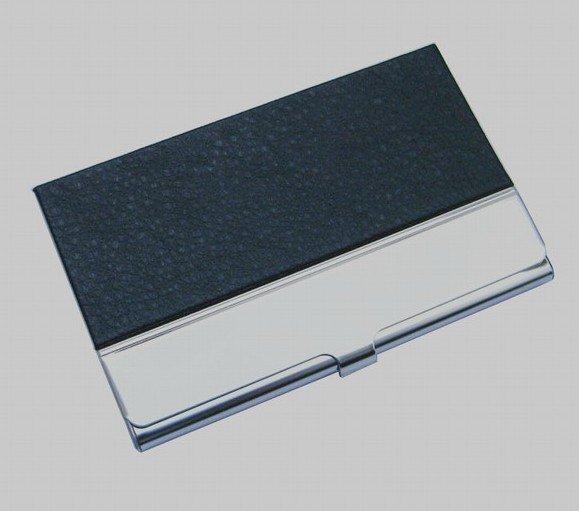 10 шт./партия из нержавеющей стали+ искусственная кожа бедж держатель для визиток, может сделать логотип NMS013 - Цвет: black
