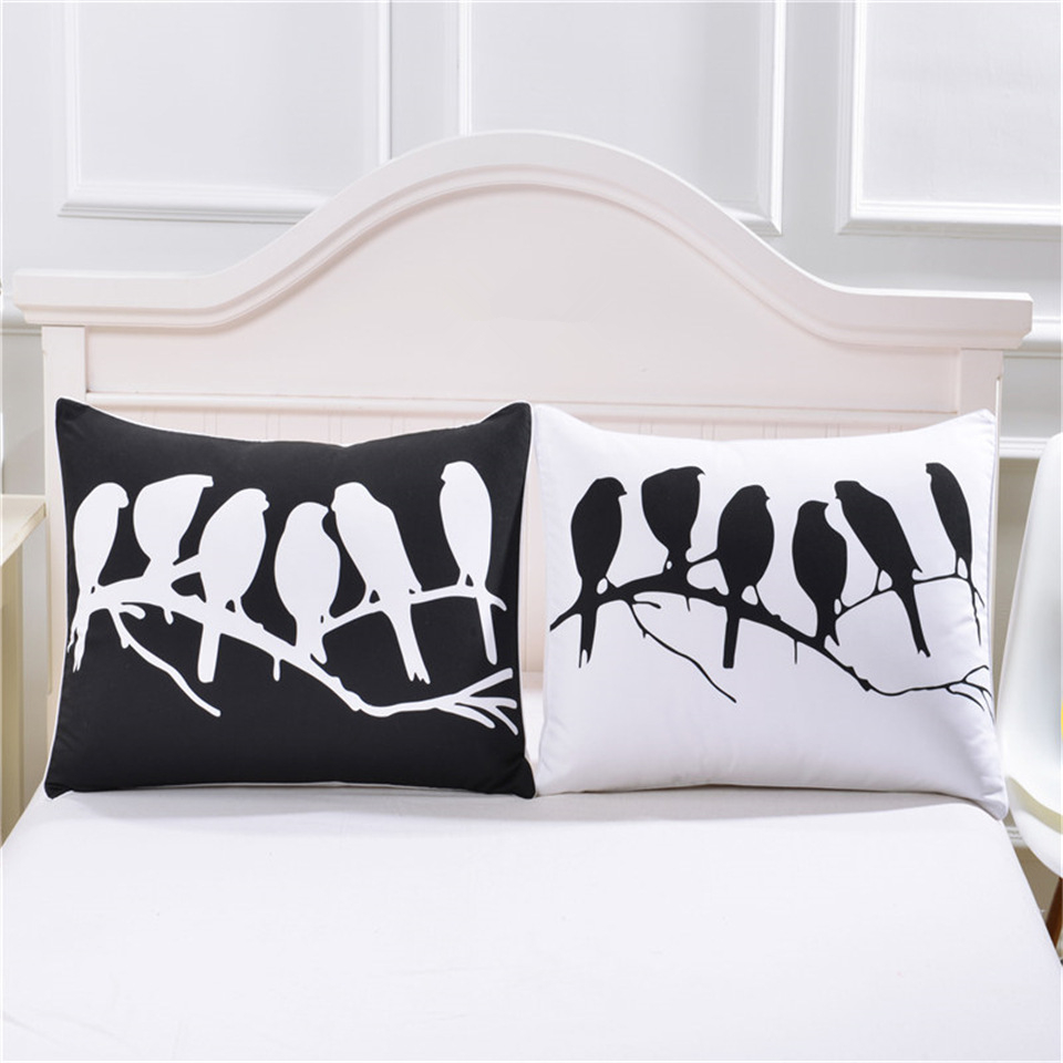 2pcs/lot Bedding <font><b>Pillow</b></font> <font><b>Case</b></font> European and American minimalist style <font><b>pillow</b></font> <font><b>case</b></font> black and white birds home furniture <font><b>pillow</b></font> image