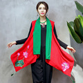 Autumn Fashion Contrast Color Patchwork Embroidery Lotus Flowers Scarf V Neck Irregular Jacket Women New Retro Coat