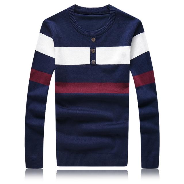 Venta caliente de Los Hombres Suéter de Otoño Invierno de La Moda de Rayas Jersey Hombres de Alta Calidad de Punto Para Hombre de los Suéteres Y Jerseys 5XL