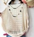Горячая! 2016 весной и летом новый корейский свободно полые битой воротник рубашки свитер тонкий кондиционер халат бесплатная доставка