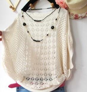 2020 Hot! And Summer New Korean Loose Hollow Bat Shirt Collar Sweater Thin Air Conditioning Smock Free Shipping