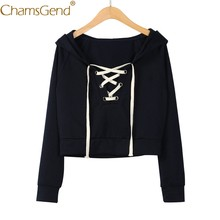 fa35bd68130a9 Chamsgend Hoodies Women Sexy Lace up V Neck Short Hoody Sweatshirt Crop Top  80115