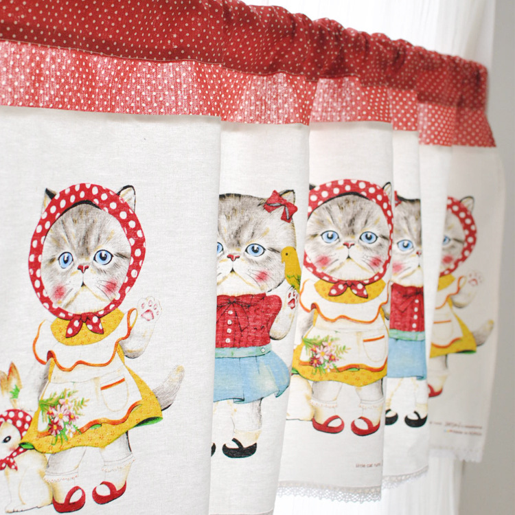 Lovely Japanese Cute Cat Series Cotton Japanese Curtain Home Decoration Kitchen  Coffee Half Curtain Short Curtain(