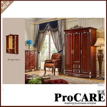 Antique White Golden Colour Wooden Double Door Sliding Door Wardrobe Closet for bedroom