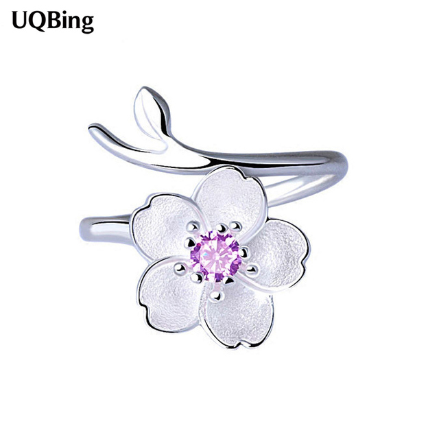 Fashion 925 Sterling Silver Cherry Blossoms Open Rings For Women Jewelry Finger