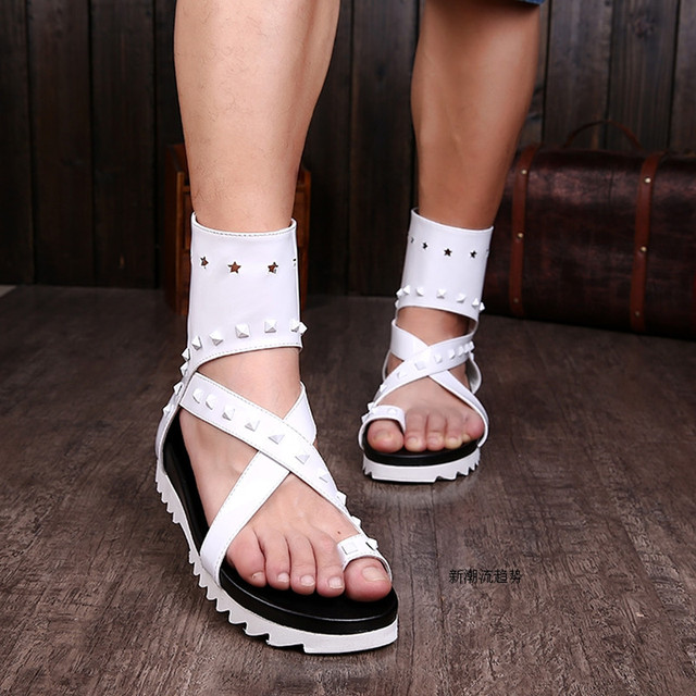 58556f6e5f0 Choudory New Celebrity Italian Leather Slippers For Men White Black  Gladiator Sandals Studded Flip Flops Summer Motorcycle