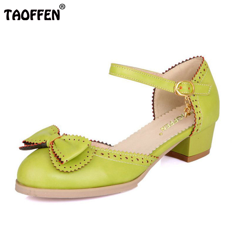 TAOFFEN Size 28-50 Vintage Women High Heel Sandals Bowknot Ankle Strap Thick Heels Sandals Summer Club Shoes Women Footwears aiykazysdl summer women sandals thick