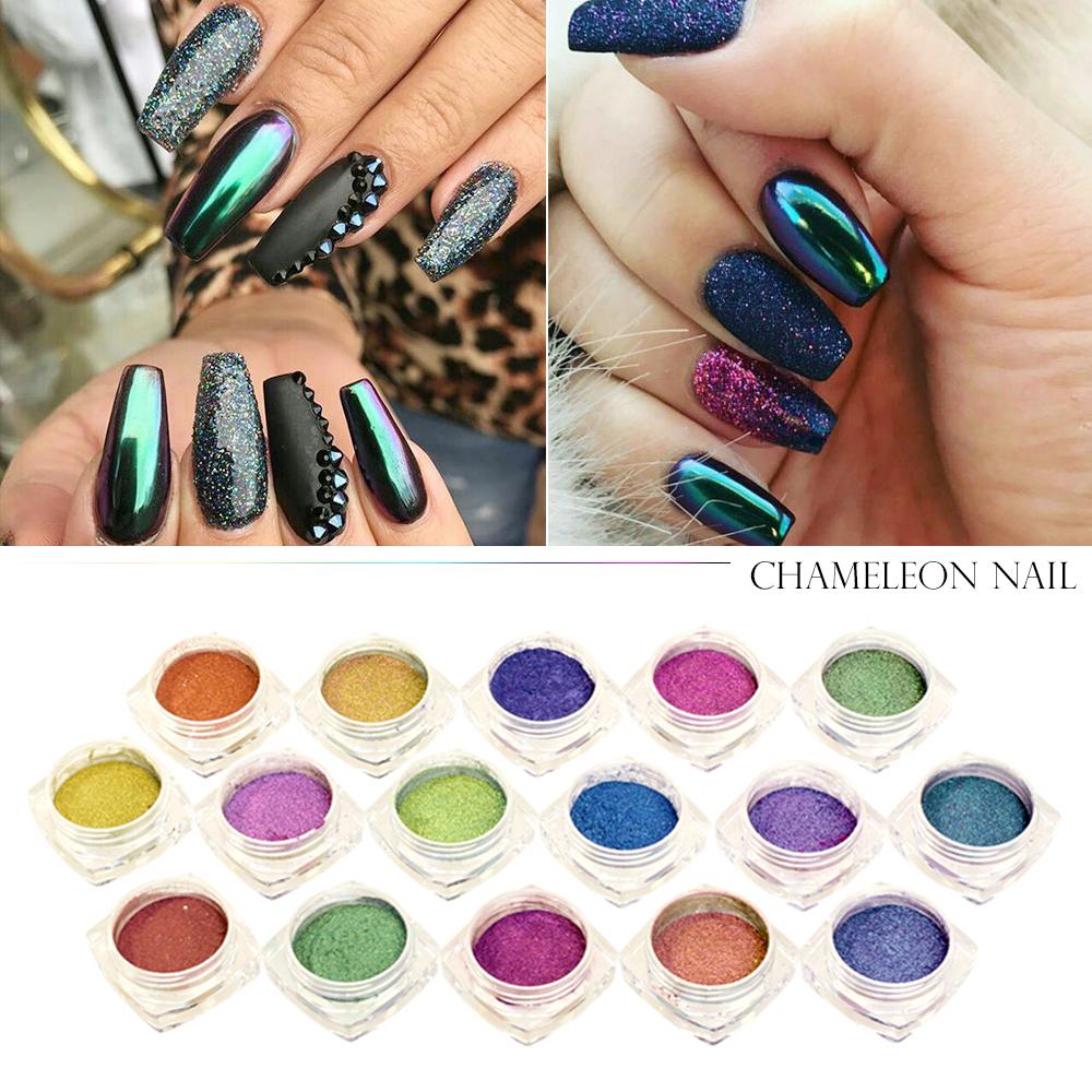 1pcs Sparkly Chameleon Flakes Magic Effect Gradient
