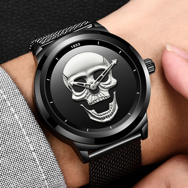 2018 Relojes Men Watch Top Brand Casual Fashion 3D Skull Stainless Steel Waterproof Military Sports Wristwatch Relogio Masculino
