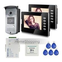 """ENVÍO GRATIS Nueva Wired Home 7 """"Intercomunicador Video De La Puerta Sistema de Teléfono + 2 Pantalla + Cámara + fuente de Alimentación de Control de Acceso RFID En Stock"""