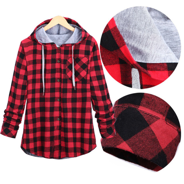 Plaid Side Zipper Scotland Long-sleeved Casual Shirt Hiphop Black And White, Blue And Red Hoodies Sweatshirts For Men And Women