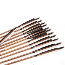 18 шт. охотничьи бамбуковые стрелы Изогнутый длинный лук месте съемки 20-70lbs использовать лук длинный лук