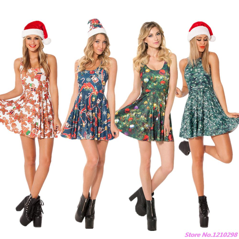 christmas bear party dress red floral sexy club dress colorful christmas dress high waist d print sport mini dress vestidos