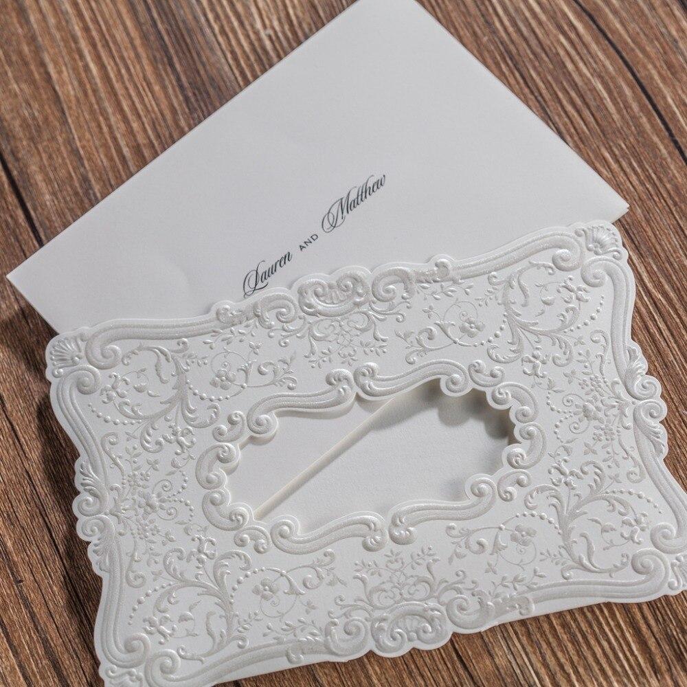 CW5230 white embossed laser cut wedding invitation free shipping ...
