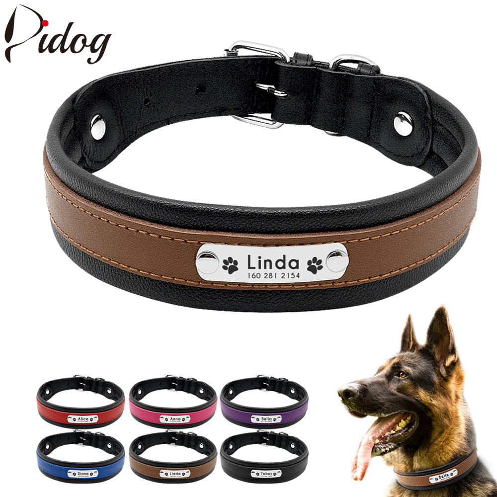 Leather Dog Collar Personalized Collar For Big Large Dogs Custom Engraved Nameplate Pet ID Tag Collars German Shepherd Pitbull