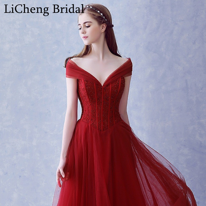 db876fbbd88b Real photo red beading prom dress long sexy V neck off shoulder prom dress  A line for prom party dress vestido longo 2017-in Prom Dresses from  Weddings ...