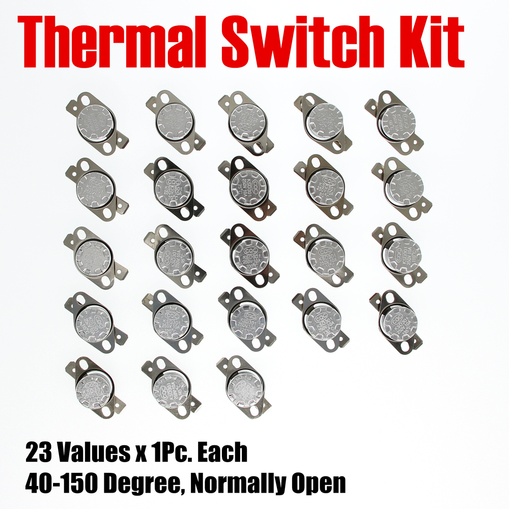 PHISCALE Metal Thermostat Kit 23Values x 1Pc 40-150 Degree Normally Open KSD301 250V AC 10A For Maintenance used original 90% adf maintenance kit 525mfp for hp575 725 775 7500 adf maintenance kit