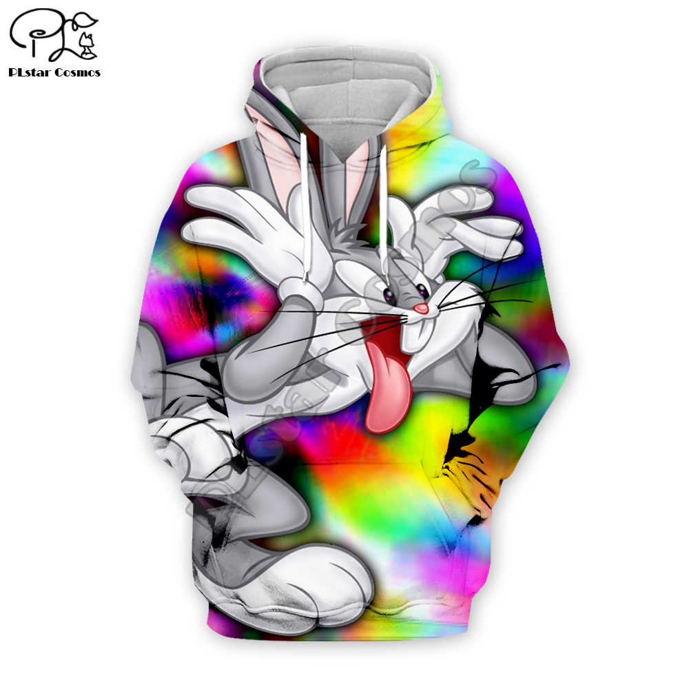 Funny trippy Rabbit 3D Print Mens Hoodie Sweater Sweatshirt Jacket Pullover Tops