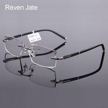 Reven Jate 58003 Pure Titanium Rimless Diamond Cutting Man Glasses Frame Optical Prescription Eyeglasses Men Eyewear Fashion