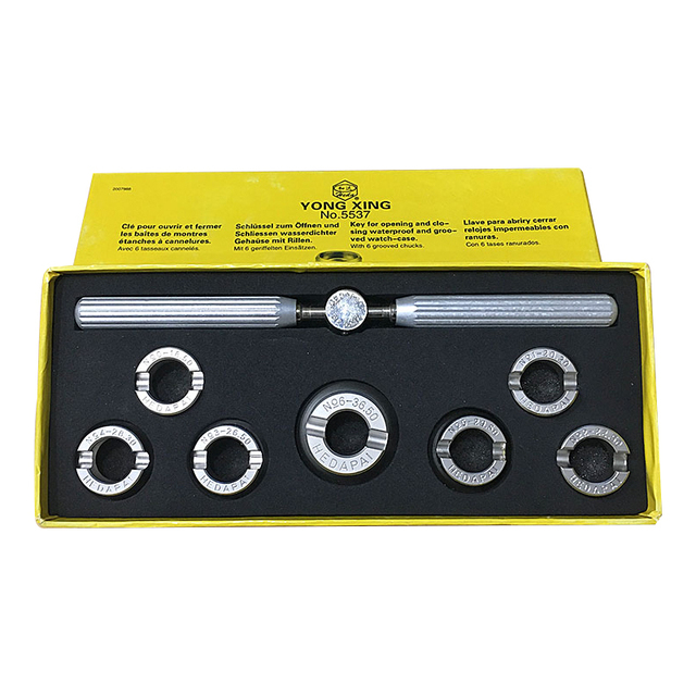 לא. 5537 פלדת stailess צפו פותחן מקרה כלי, 7 יחידות למין גודל צפו חזור Case פותחן לתיקון שעון