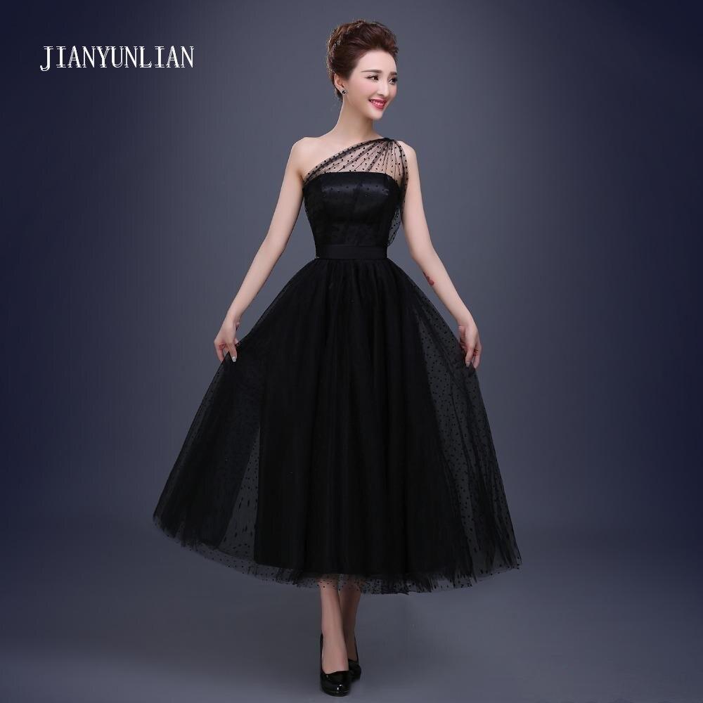 Black Prom Dresses 2019 Cheap One Shoulder Polka Dot Tulle ...One Shoulder Black Prom Dresses