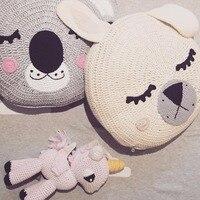 Ins Decorative Pillows cartoon cushion Handmade Knitted Bear Rabbit Pillow Sleep Toys Stuffed Plush Dolls Gifts For Kids Baby