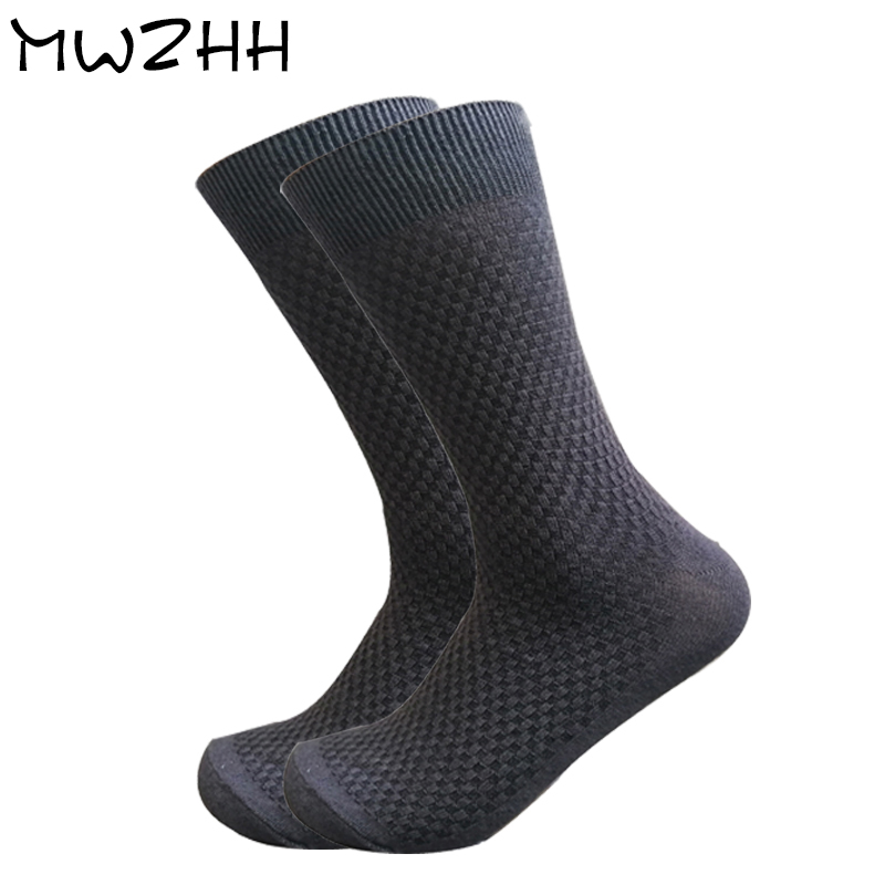 MWZHH Men Bamboo   Socks   black Breathable Deodorant Men Dress   Socks   High Quality Business   Socks   Long size 40-46