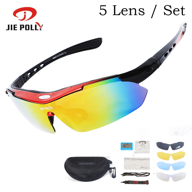 5 Lens Jiepolly UV400 Polarized Sport Cycling Bike Bicycle Glasses Sunglasses Eyewear For Fishing Hiking Sun