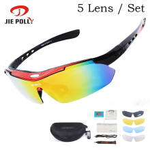5 Lens Jiepolly UV400 Polarized Sport Cycling Bike Bicycle Glasses Sunglasses Eyewear For Fishing Hiking Sun