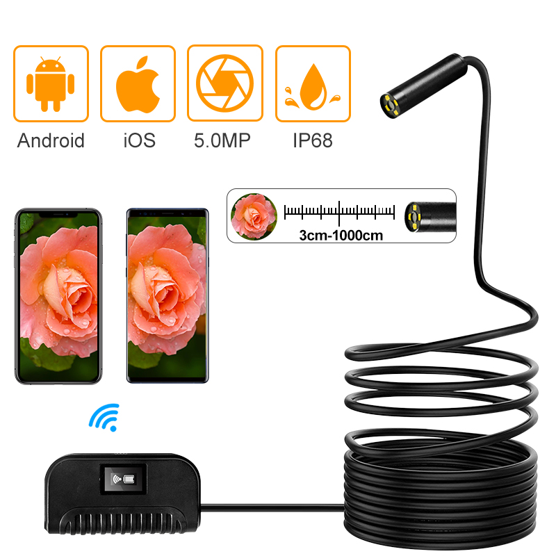 $39.19 New Arrival Auto Focus WiFi Inspection Camera IP68 Waterproof Endoscope 5MP CMOS Snake Camera for iPhone, Samsung, Andorid ,IOS