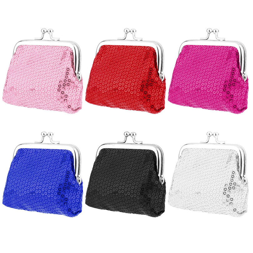 6Pcs Fashion Girls Mini Fashion Sparkly Bling Sequins Cute Coin Purses Card Key Wallets for Xmas Presents Party Favors