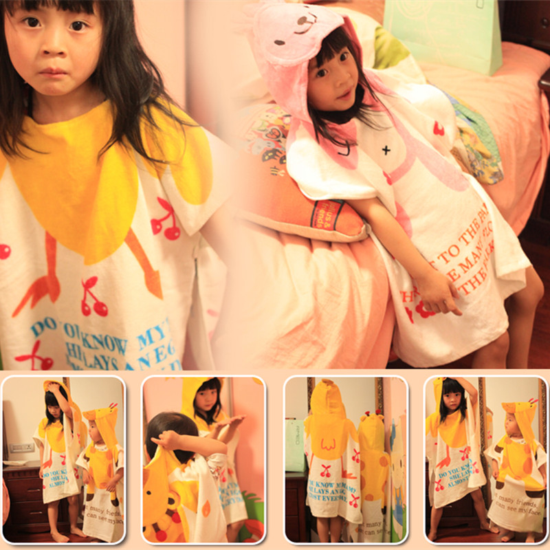 Cartoon children baby bath towel cotton towel material hooded cloak cloak beach towel sets a robe