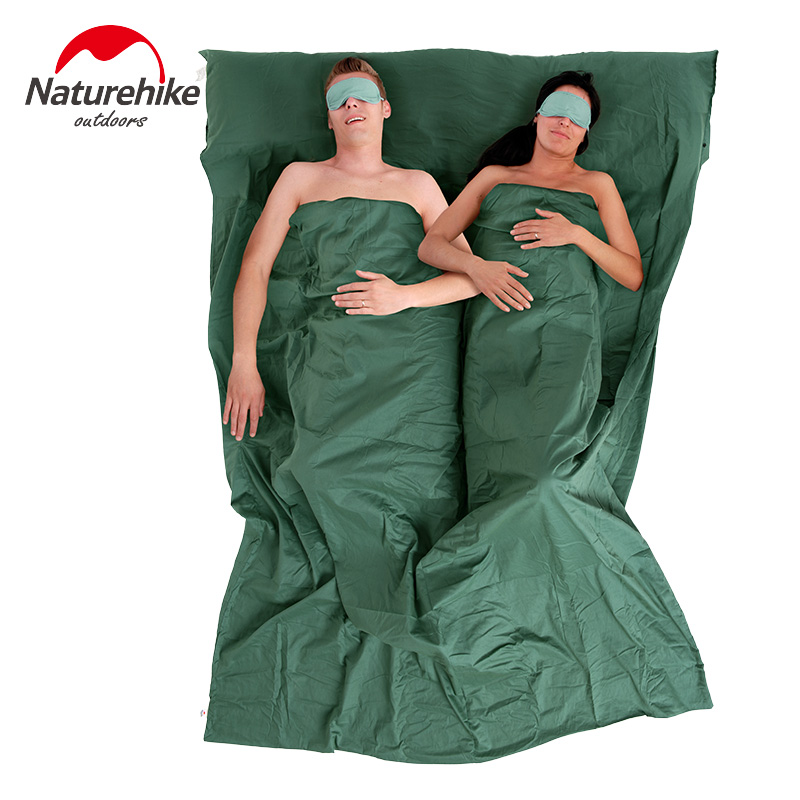 Naturehike Double Envelope Sleeping Bag Liner Cotton Ultralight Portable Camping Travel 2 Person Summer Sleeping Bag 160*220cm naturehike portable double sleeping bag liner bags 2colors 2200x1600mm ultra light spring summer camping envelope lazy bag 850g
