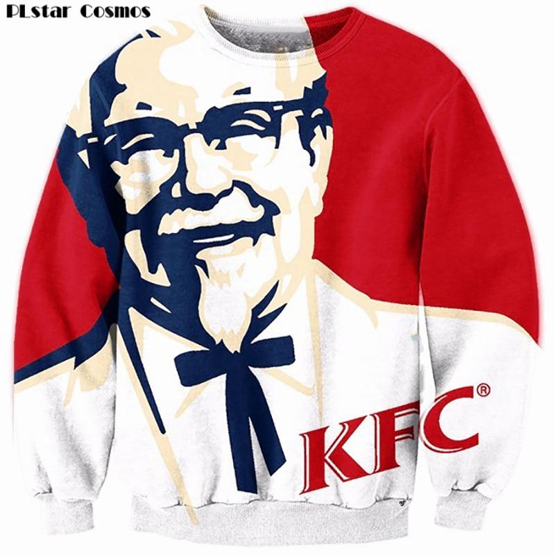PLstar Cosmos Hoodies Hip Hop Sweatshirt New Fashion Funny KFC Design 3D Print Casual Long Sleeve Crewneck Sup Hoodie Men Tops
