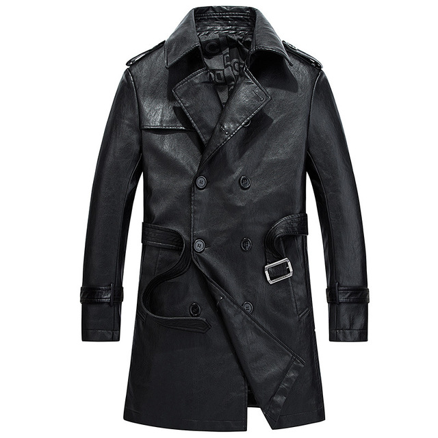 Casual Faux Leather Long Trench Jacket Men 2017 Winter Double Breasted PU  Suede Youth Coat Male