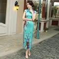 Robe Chinoise Traditional Chinese Dress Silk Qipao Dresses Vintage Wedding Cheongsam Vestido Oriental Green Sexy Qi Pao Women