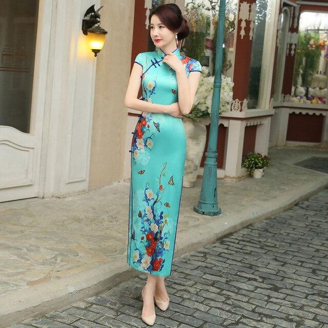 07285fda4 Robe Chinoise Traditional Chinese Dress Silk Qipao Dresses Vintage Wedding  Cheongsam Vestido Oriental Green Sexy Qi