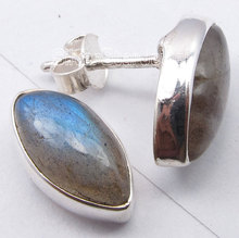 Solid Silver Cabochon LABRADORITE Marquise Lovely s Post Earrings 1.5CM1 Pair of  Earring