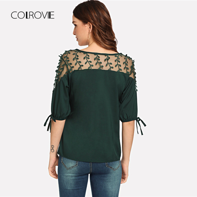 Black Knot Mesh Panel Blouse Shirt Pink Workwear Feminine Blouse Green Casual Half Sleeve Women Tops 5