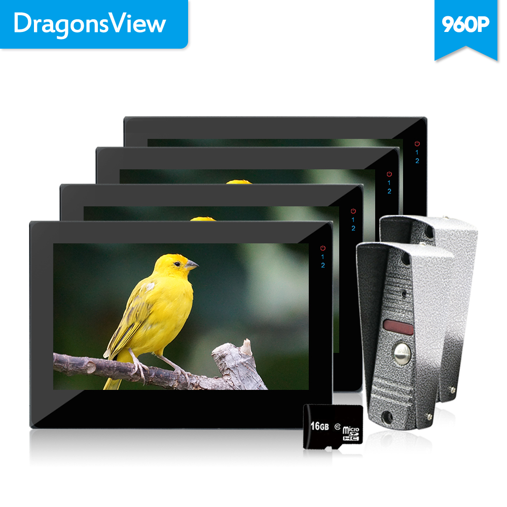 Dragonsview  Video Door Phone Touch Screen 7 Inch 960P Video Home Intercom System 4 Monitors 2 HD Bell With Camera Unlock Record