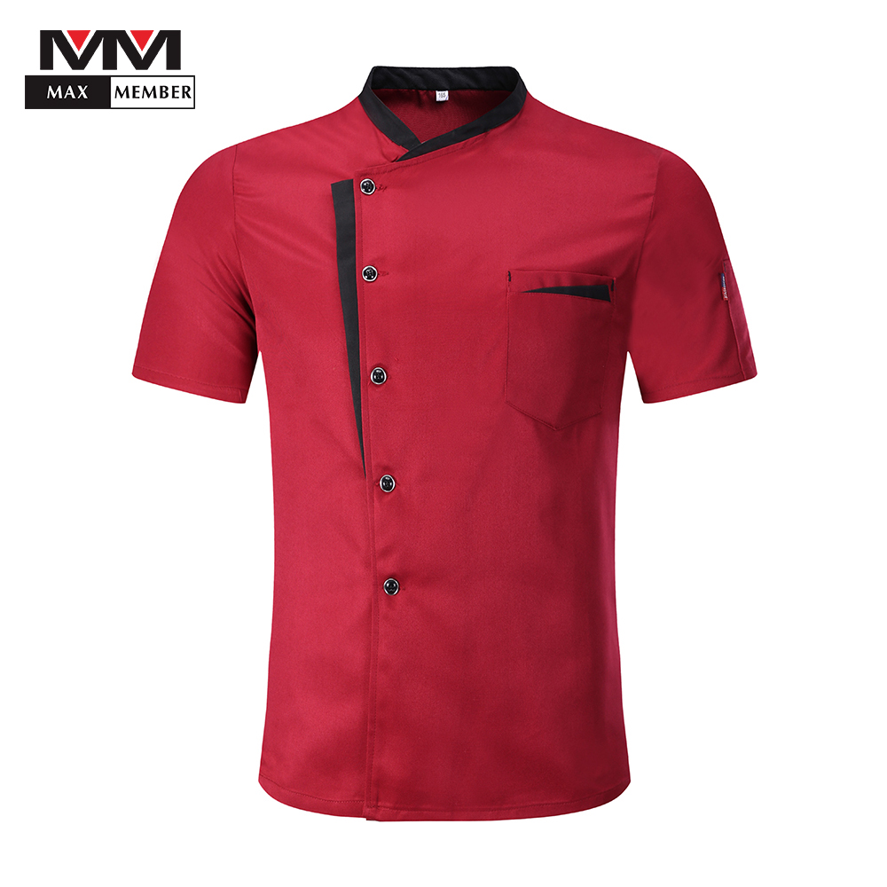 Unisex Stitching Color Short Sleeve Breathable Summer Chef Work Uniforms Restaurant Cafe Waiter Patchwork Tops Jackets Aprons