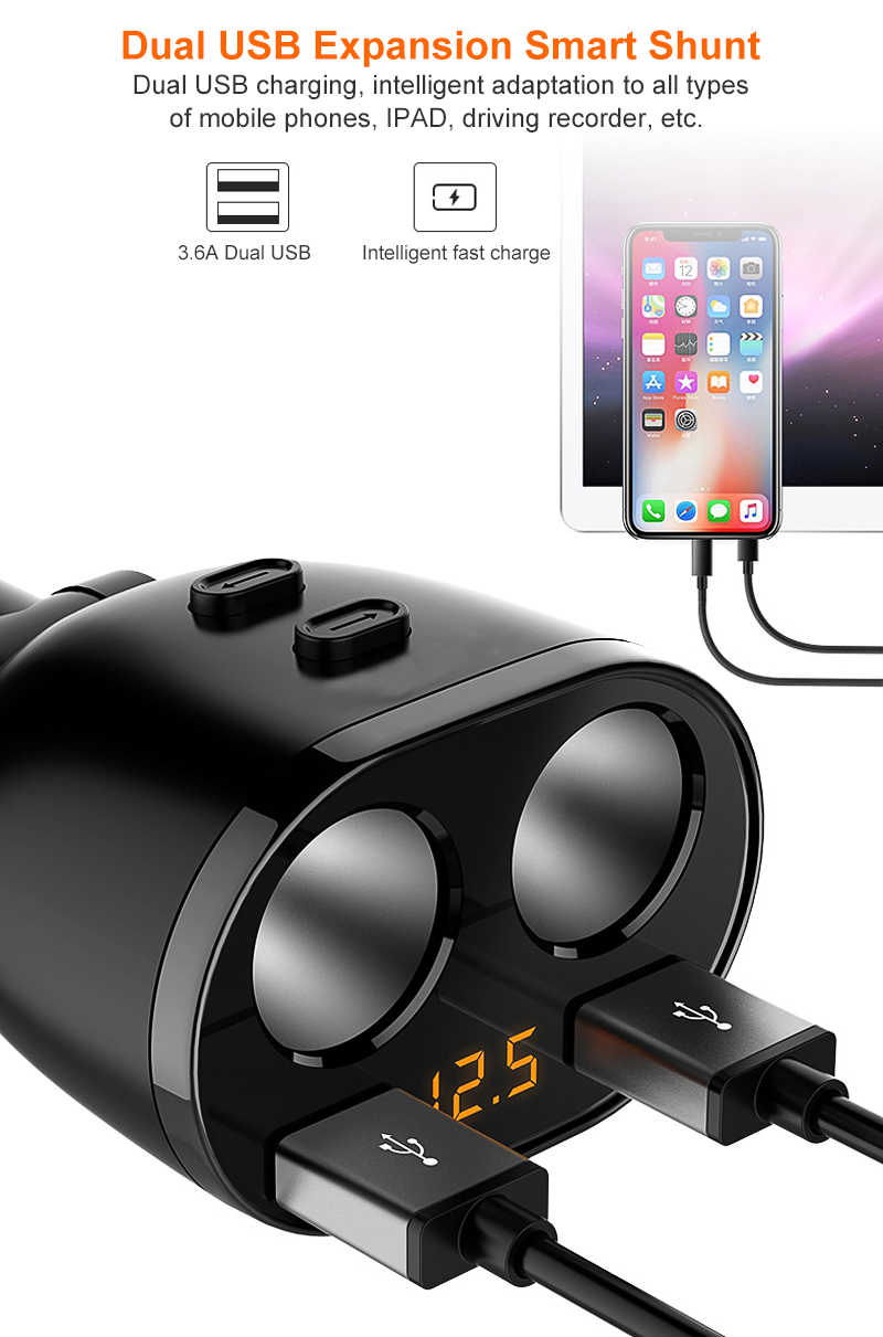 2 USB Port 2 Way 3.1A Universal Car Cigarette Lighter Socket Splitter Hub Power Adapter 12V-24V For iPad Smartphone with Voltage