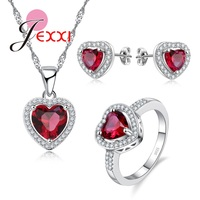 JEXXI Fashion 925 Silver Jewelry Set Romantic Woman Valentine Gift Zircon Crystal Red Heart Necklace Stud