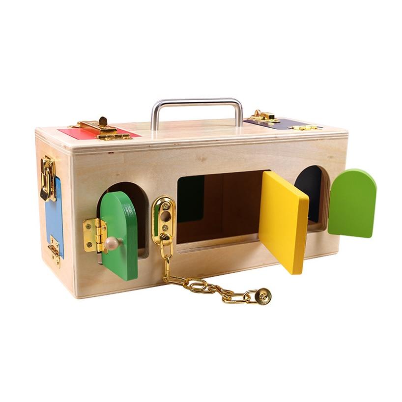 2019 Montessori matériaux serrure en bois et boîte de déverrouillage aides pédagogiques enfants apprentissage jouets éducatifs materiales montesori