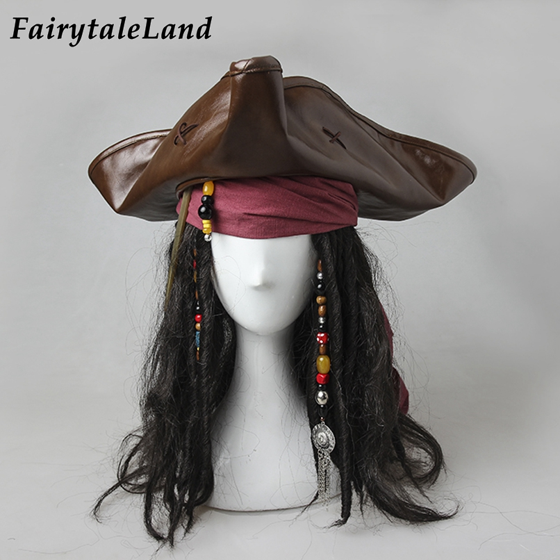 Captain Jack Sparrow Hat Halloween Cosplay Pirates Of The Caribbean Jack Cosplay Wig Accessories Hair Decoraction Scarf