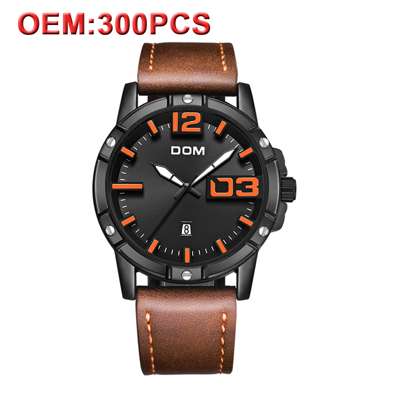 DOM Customized Your Brand Leather Wrist Watch Men Quartz Sport Watches Fashion Mens Watch Clock Waterproof Malitary WatchDOM Customized Your Brand Leather Wrist Watch Men Quartz Sport Watches Fashion Mens Watch Clock Waterproof Malitary Watch