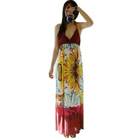 Special Price Women Bohemian Summer Beach Dress Sexy Halter Neck Ice Silk Long Maxi Dress Floral
