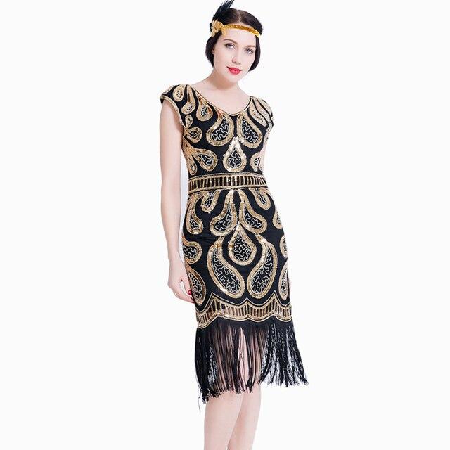 Women Fler Dress V Neck Fringe Sequined 1920s Vintage Gatsby Roaring 20s Tel Art Deco