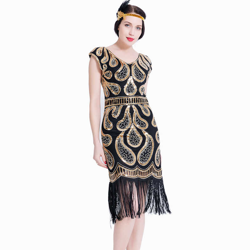 306ed400 Women Flapper Dress V Neck Fringe Sequined 1920s Vintage Gatsby Dress  Roaring 20s Tassel Art Deco
